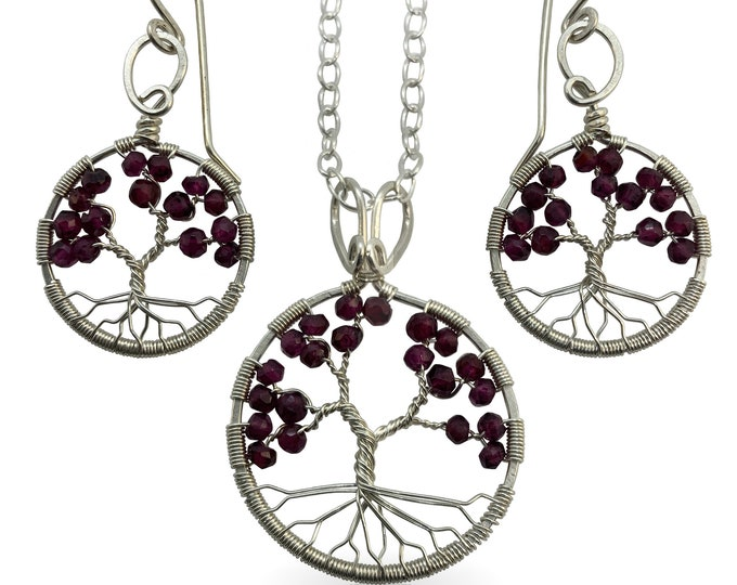 Sterling Silver Garnet Tree-Of-Life Jewelry Set, Pendant and Earrings, January Birthstone, 2nd Anniversary, Capricorn Aquarius