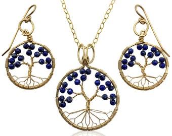 Gold Lapis Lazuli Tree of Life Jewelry Set for Women 9th Anniversary September Birthstone Gift Virgo