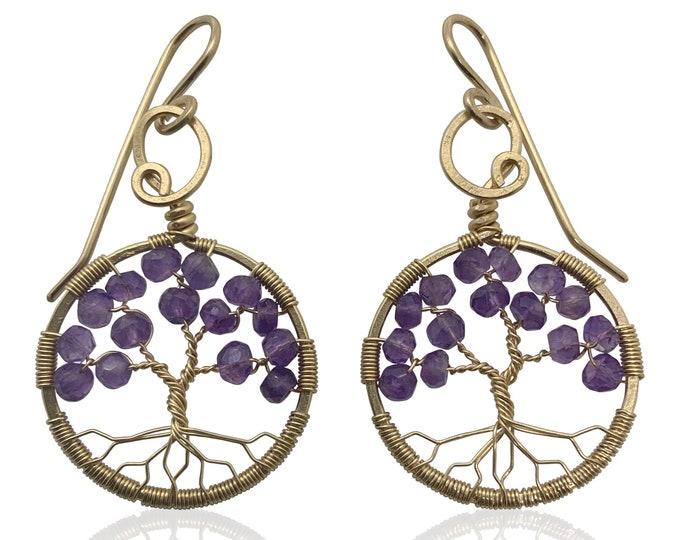 Amethyst Tree of Life Gold Earrings February Birthstone Aquarius Pisces 6th Anniversary