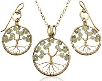 Gold Topaz Tree of Life Jewelry Set for Women 23rd Anniversary November Birthstone Gift Scorpio Sagittarius