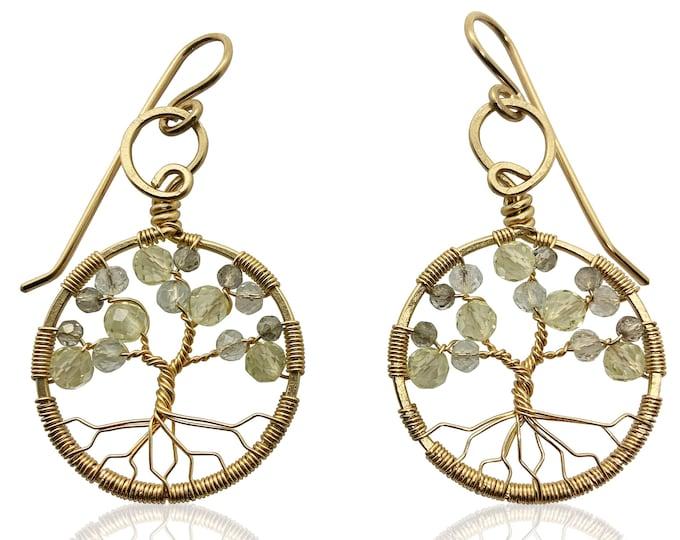 Gold Topaz Tree of Life Earrings for Women, 23rd Anniversary, November Birthstone Gift Scorpio Sagittarius