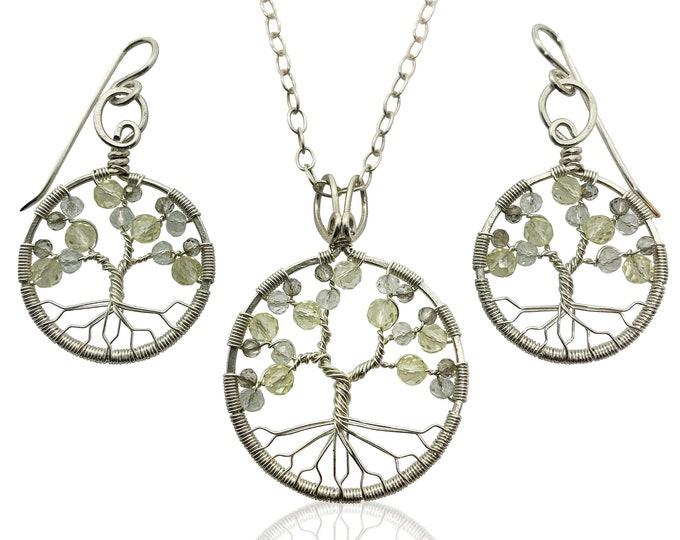 Silver Topaz Tree of Life Jewelry Set for Women 23rd Anniversary November Birthstone Gift Scorpio Sagittarius