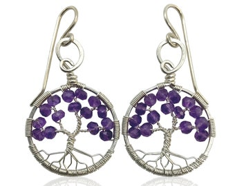 Silver Amethyst Tree-Of-Life Earrings, February Birthstone, 6th Anniversary Gift, Aquarius, Pisces