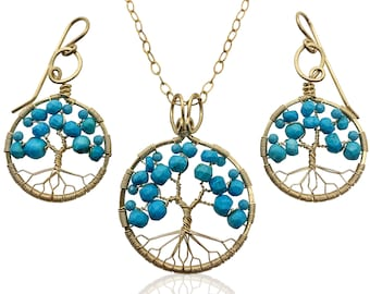 Gold Turquoise Tree of Life Jewelry Set for Women 11th Anniversary December Birthstone Gift Sagittarius Capricorn