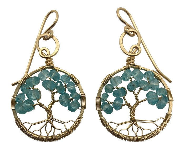 Gold Blue Apatite Tree-of-Life Earrings March Birthstone Pisces Aries 18th & 19th Anniversary Gift