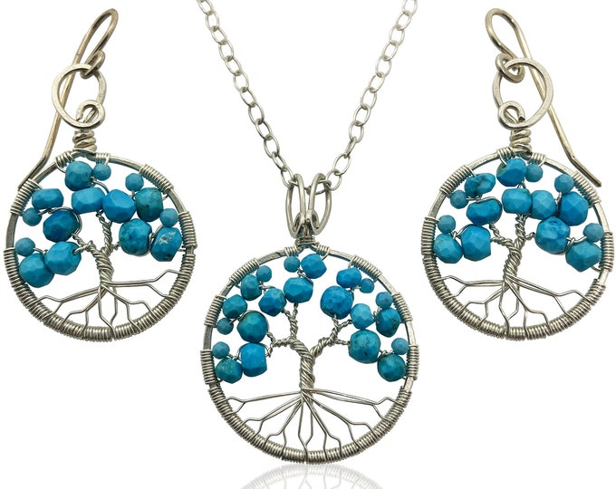 Silver Turquoise Tree of Life Jewelry Set for Women 11th Anniversary December Birthstone Gift Sagittarius Capricorn