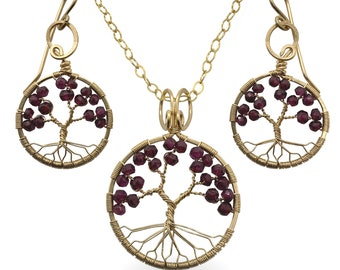 Gold Garnet Tree-of-Life Jewelry Set, January Birthstone, 2nd Anniversary Gift, Capricorn, Judaica
