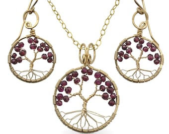Gold Garnet Tree-Of-Life Jewelry Set January Birthstone 2nd Anniversary Capricorn Aquarius Judaica