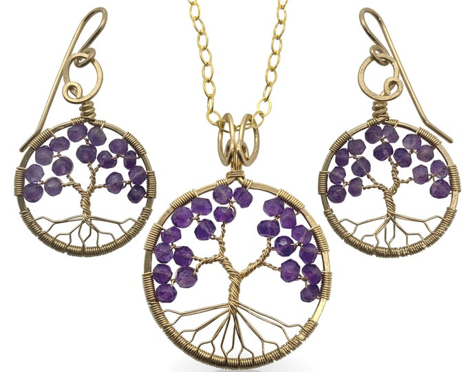 Gold Amethyst Tree-Of-Life Jewelry Set February Birthstone Pisces, 6th Anniversary