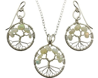 October Birthstone Silver Opal Tree of Life Jewelry Set for Women 14th Anniversary Birthstone Libra