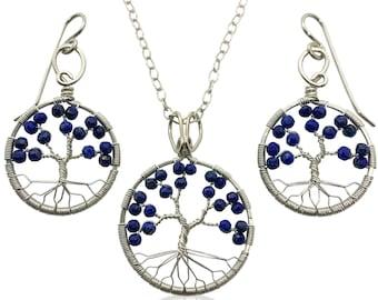 Silver Lapis Lazuli Tree of Life Jewelry Set for Women 9th Anniversary September Birthstone Gift Virgo