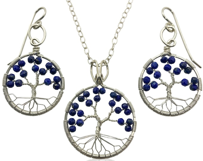 Silver Lapis Lazuli Tree of Life Jewelry Set for Women 9th Anniversary September Birthstone Gift Virgo