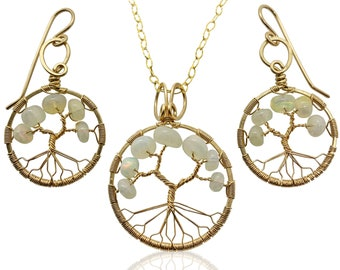 October Birthstone Gold Opal Tree of Life Jewelry Set for Women 14th Anniversary Birthstone Libra