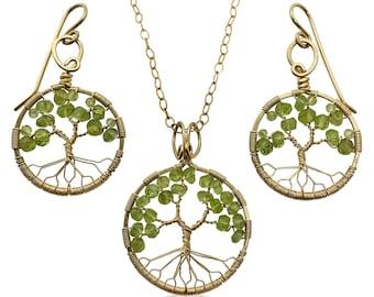 Gold Peridot Tree of Life Jewelry Set August Birthstone for Leo Virgo 1st Anniversary Gift