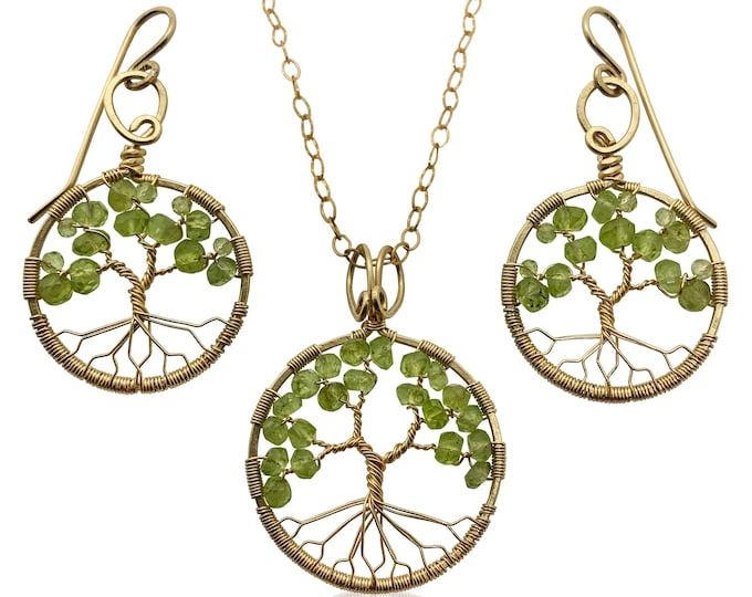 Gold Peridot Tree of Life Jewelry Set August Birthstone for Leo Virgo 1st Anniversary Gift
