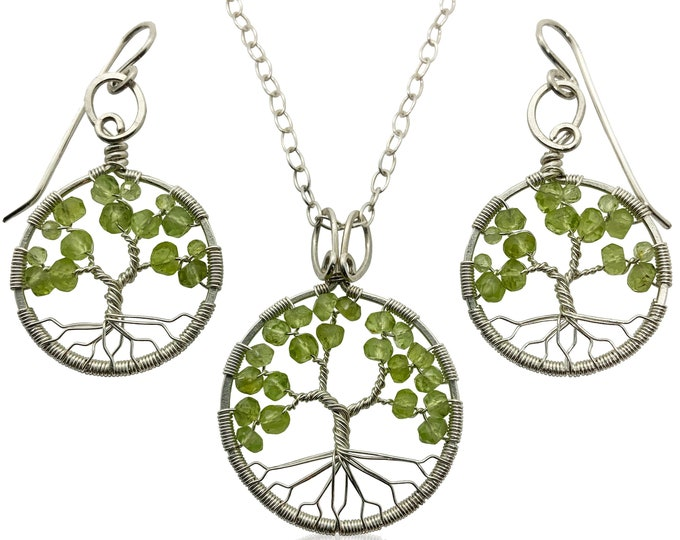 Silver Peridot Tree of Life Jewelry Set August Birthstone for Leo Virgo 16th Anniversary Gift