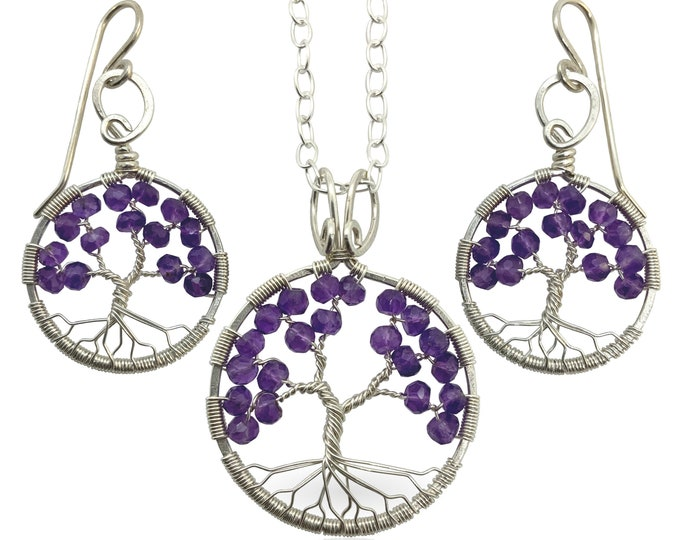 Silver Amethyst Tree-of-Life Jewelry Set for Women February Birthstone 6th Anniversary Gift Aquarius Pisces