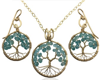 Gold Blue Apatite Tree-of-Life Jewelry Set March Birthstone Pisces Aries 18th & 19th Anniversary Gift