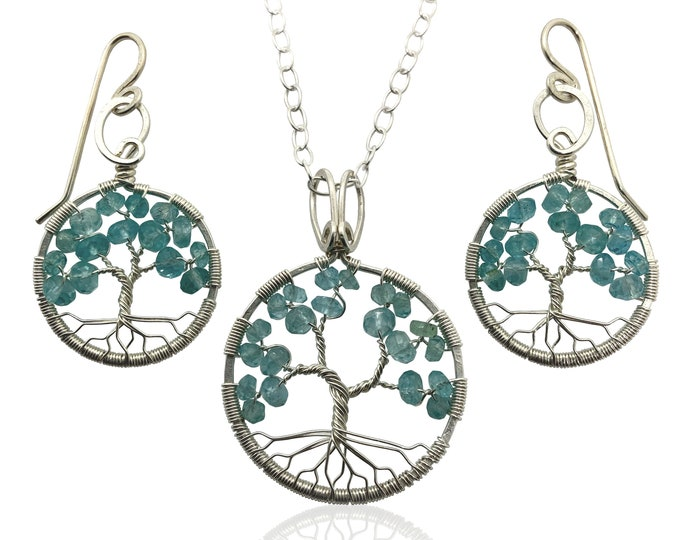 Silver Blue Apatite Tree-of-Life Jewelry Set March Birthstone Pisces Aries 18th & 19th Anniversary Gift