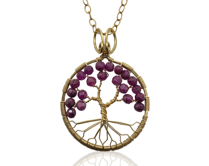 Gold Ruby Tree of Life Pendant Necklace for Women, 40th Anniversary, July Birthstone Gift