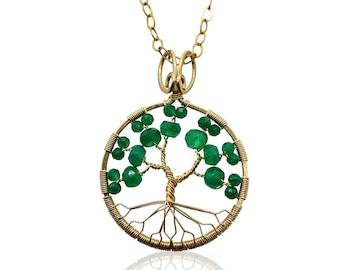 Gold Emerald Green Onyx Tree of Life Pendant May Birthstone for Gemini Taurus