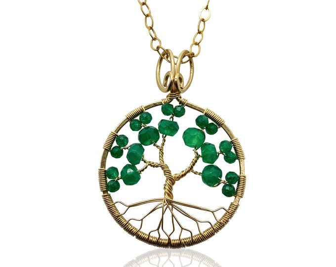 Gold Emerald Green Onyx Tree of Life Pendant May Birthstone for Gemini Taurus