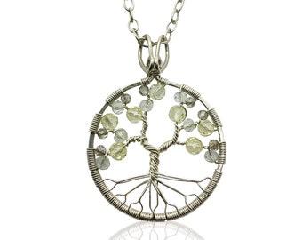 Silver Topaz Tree of Life Pendant Necklace for Women 23rd Anniversary November Birthstone Scorpio Sagittarius