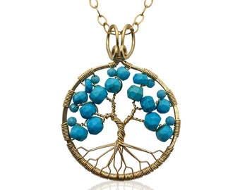 Gold Turquoise Tree of Life Pendant Necklace for Women 11th Anniversary December Birthstone Sagittarius Capricorn Gift