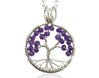 Amethyst Tree of Life February Birthstone Pendant Sterling Silver Tree-of-Life Aquarius Pisces 6th Anniversary Healing Crystal Chakra Stone
