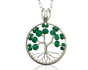 Silver Emerald Green Onyx Tree of Life Pendant May Birthstone for Gemini Taurus