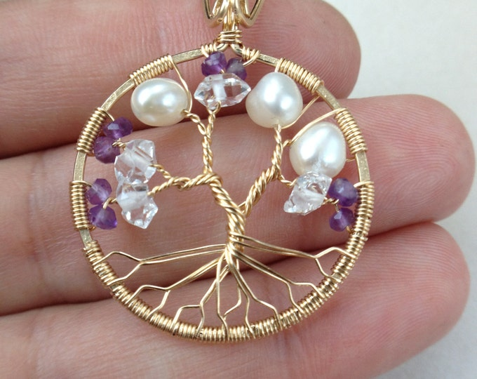 Mothers Day Gold Tree-Of-Life Necklace Tree of Life Pendant Necklace April Birthstone February Birthstone June Birthstone Tree Gift For Mom
