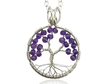 Silver Amethyst Tree Of Life Pendant Necklace, 6th Anniversary, February Birthstone, Aquarius Pisces