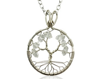 Herkimer Diamond Tree-Of-Life Necklace Sterling Silver April Birthstone