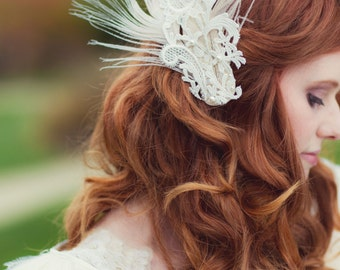 Mia Feather and Lace Bridal Head Piece
