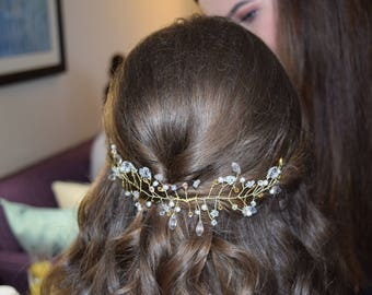 Bridal Wire Vine Hairpiece with Ivory Pearls and clear Crystals
