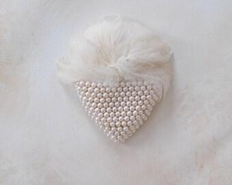 Abilene Tear Shaped feather and Bridal/Cocktail pearl headpiece