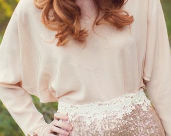 Nellie dolman sleeve V-neck silk Bridesmaid/Cocktail blouse