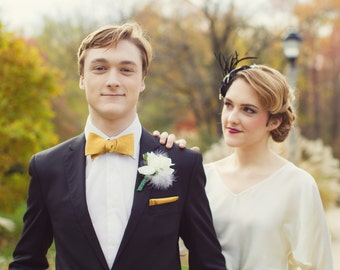 Busby Gold Self-tie bow tie - perfect for groomsmen/grooms!
