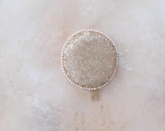 Patsy circular sequin and pearl pillbox headpiece