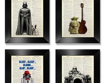 Star Wars POSTER, affiche de Star Wars jeu, Art de STAR WARS, Star Wars impression Set de 4 tirages, Star Wars Wall Art, Fun Geek Star Wars Art Print
