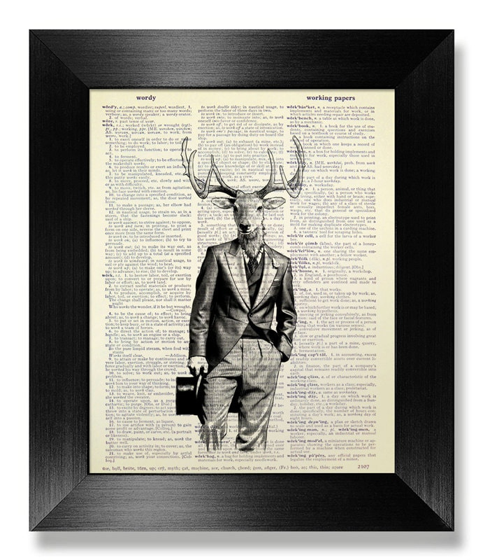 Deer Art Gift Man Home Office Decor Stag Deer Wall Art Cute Etsy