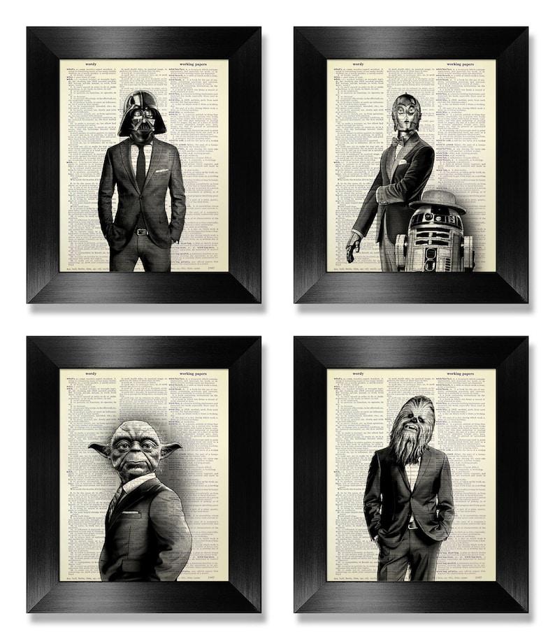 Star Wars Poster Set of 4 Prints Set Anniversary Gift for Man image 0