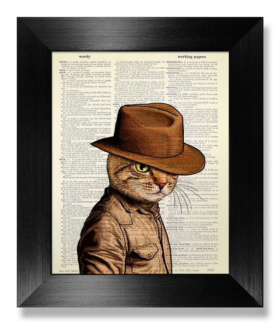 Tabby Cat with Cowboy Hat Art Tabby Cat Print on BOOK Page   Etsy