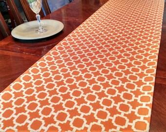 Fall Table Runner, Autumn Geo Table Linen, Bed Runner, Buffet/DresserScarf, Thanksgiving Tablecloth/Overlay,Dining/Reception/Banquet 16x98
