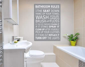 Bathroom Rules Wall Picture Bathroom Wall Art Canvas Print/ Poster Grey A2  (16x20) Inch