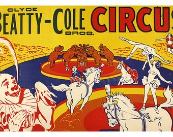 Circus Poster Print Clyde Beatty-Cole Bros Circus Poster Print Satin Poster 4 sizes