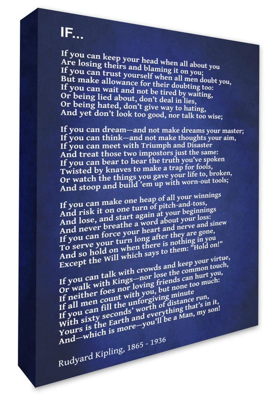 "Canvas Art Wall Print Hanging /""If/"" Poem Rudyard Kipling a1 a2 Typography New"