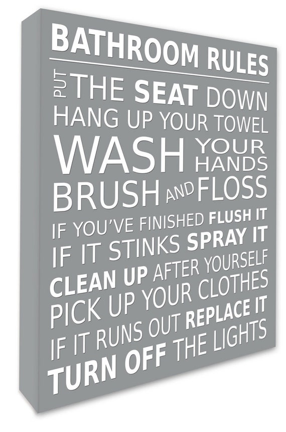 Bathroom Rules Wall Picture Bathroom Wall Art Canvas Print Etsy