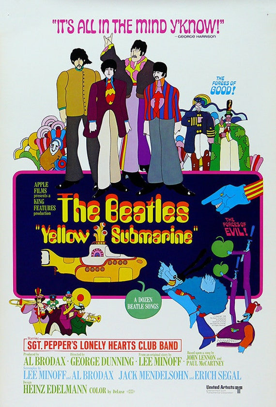 YELLOW SUBMARINE Movie Poster Print The Beatles Music Poster Prints Vintage  Rock n Roll Music Poster Prints 4 sizes