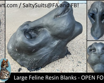 Large Feline (Lion/Tiger) - Resin Mask Blank -- For Fursuit Head / LARP / Mask Making Etc.